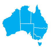 Map of Australia with all states coloured blue