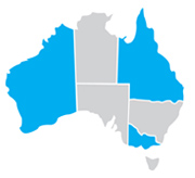Map of Australia with QLD WA and Victoria coloured Blue